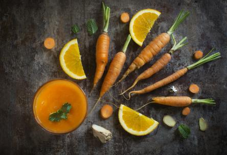 Fresh orange, ginger, and carrot juice